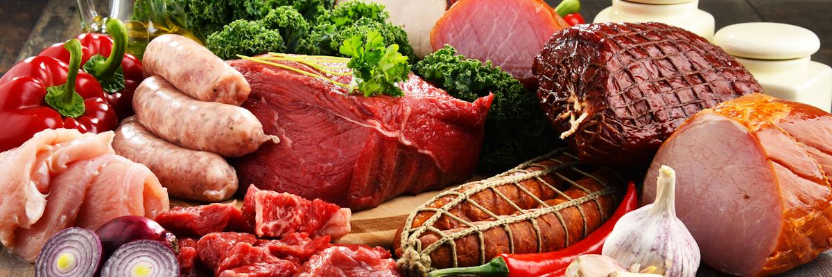 Angebot an Fleisch und Wurst